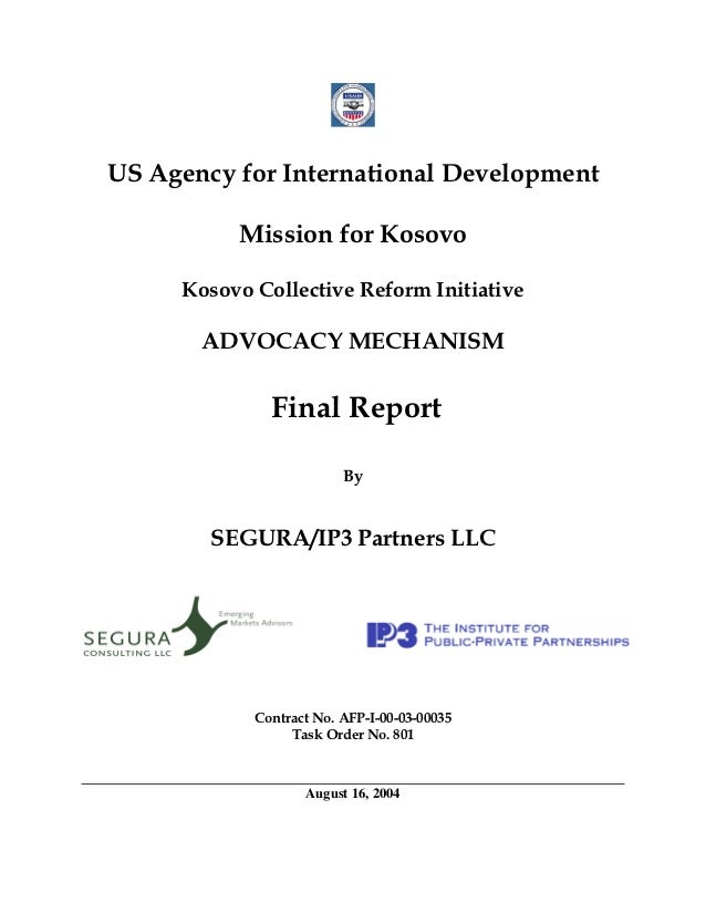 US Agency for International Development          Mission for Kosovo     Kosovo Collective Reform Initiative       ADVOCACY...