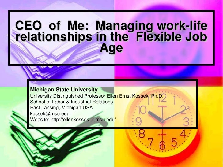 CEO of Me: Managing work-life relationships in the Flexible Job                Age     Michigan State University   Univers...