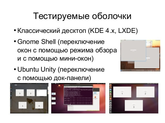 Тестируемые оболочки ●  ●  ●  Классический десктоп (KDE 4.x, LXDE) Gnome Shell (переключение окон с помощью режима обзора ...