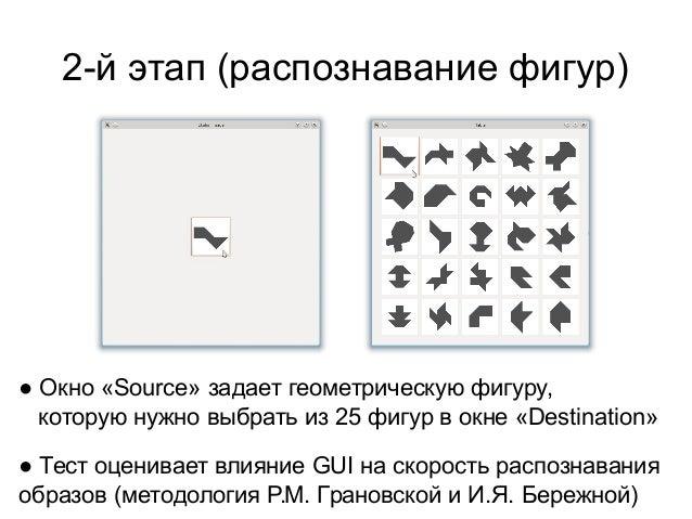 2-й этап (распознавание фигур)  ● Окно «Source» задает геометрическую фигуру, которую нужно выбрать из 25 фигур в окне «De...