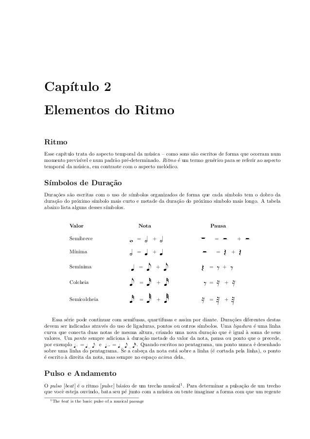 Cap´ıtulo 2 Elementos do Ritmo Ritmo Esse cap´ıtulo trata do aspecto temporal da m´usica – como sons s˜ao escritos de form...