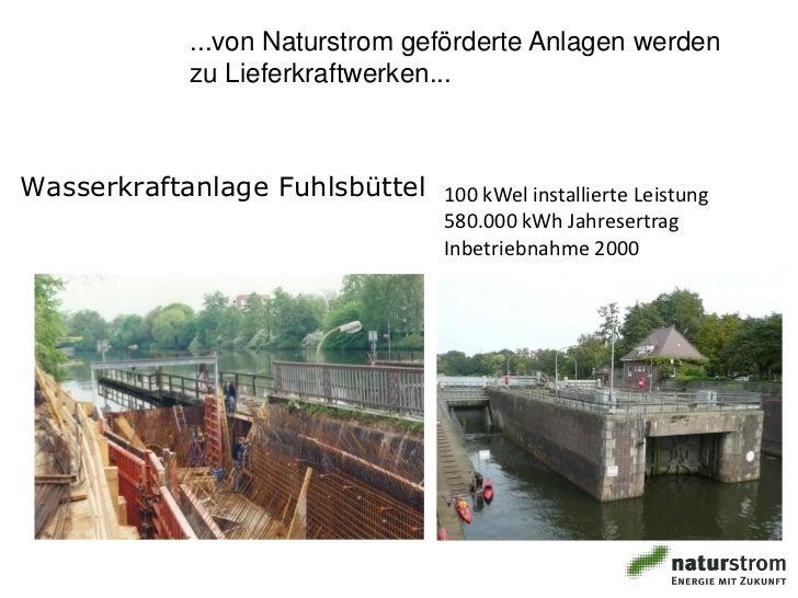 ...von Naturstrom geförderte Anlagen werden              zu Lieferkraftwerken...Wasserkraftanlage Fuhlsbüttel 100 kWel ins...