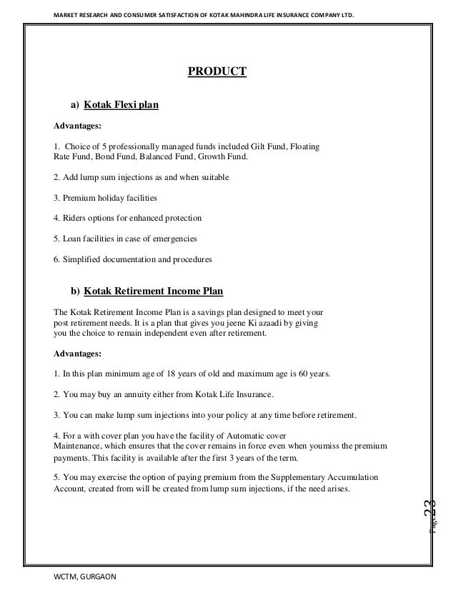 Kotak life insurance Project Report