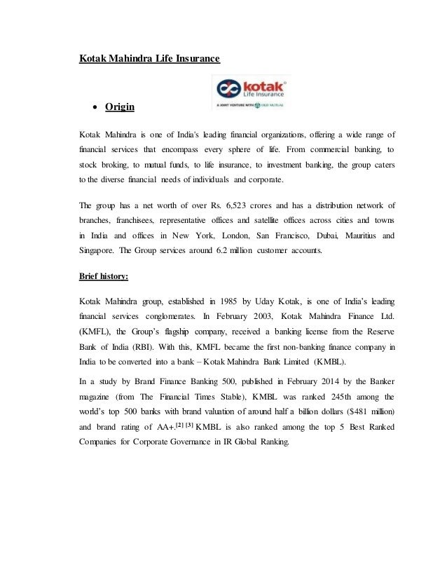 project report on recruitment and selection process in kotak mahindra life insurance report Title: a project report on recruitment and selection process of financial  consultant  om kotak mahindra life insurance established in 1985 as kotak  capital.