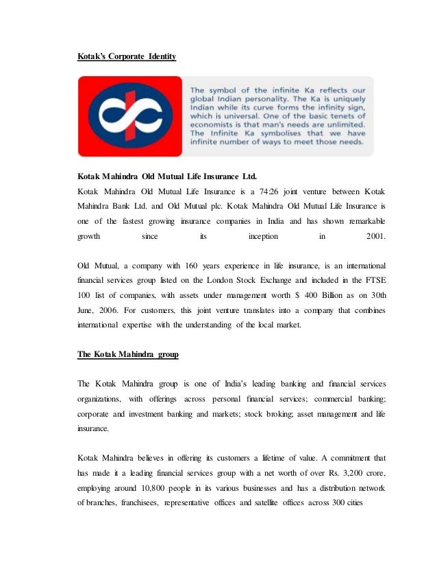 Kotak Mahindra Life Insurance Project Report On