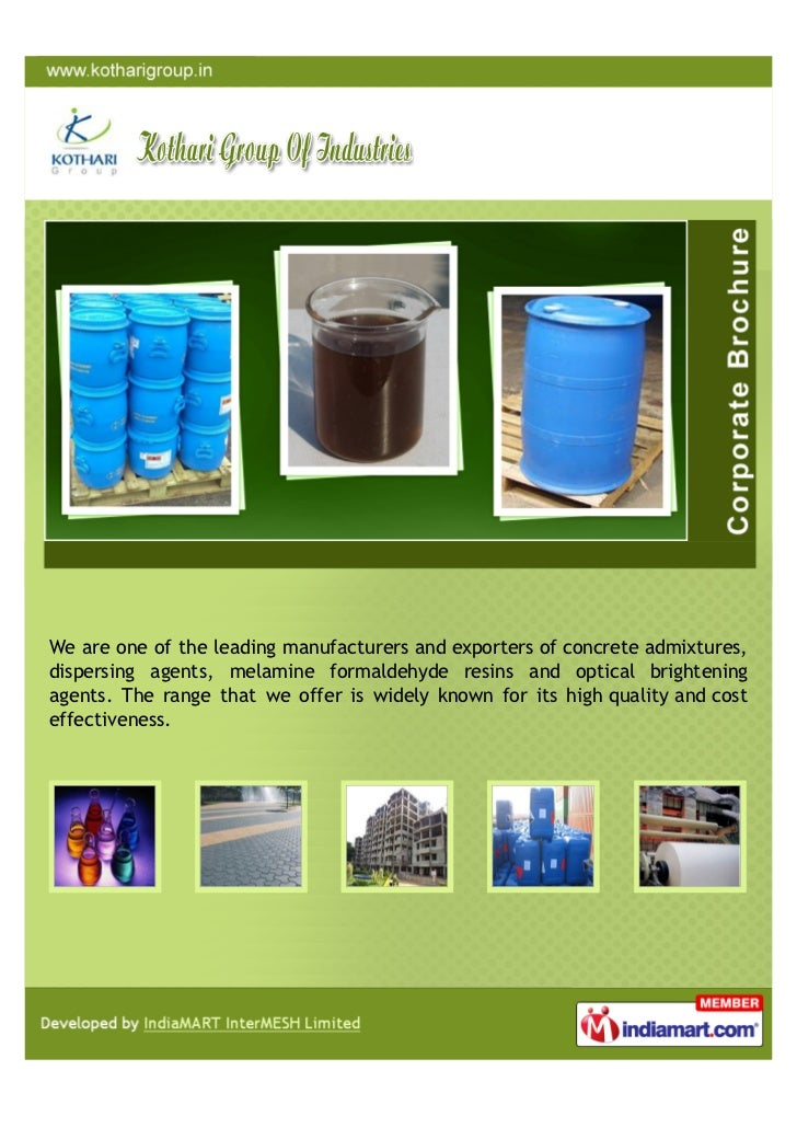 We are one of the leading manufacturers and exporters of concrete admixtures,dispersing agents, melamine formaldehyde resi...