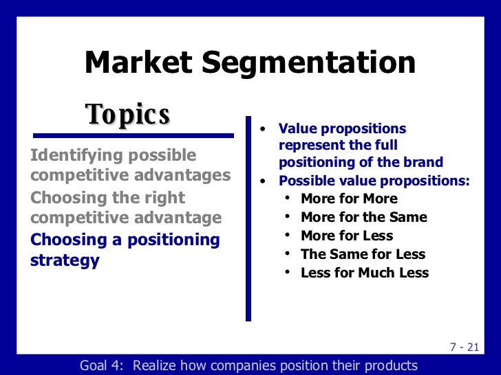 product positioning segmentation Market segmentation, targeting and product positioning  mass marketing: offering the same product to all customers with only one advertising  product positioning.