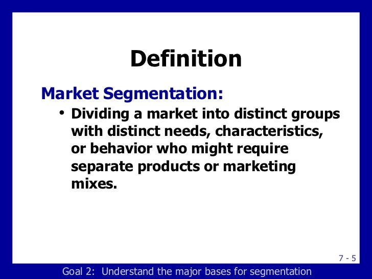 segmentation e business market Market segmentation splits up a market into different types (segments) to enable a business to better target its products to the relevant customers.