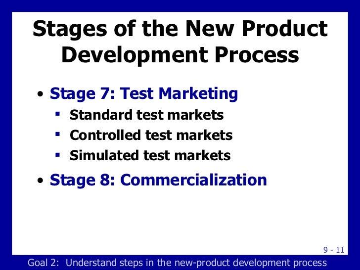 Stages of the New Product Development Process <ul><li>Stage 7: Test Marketing </li></ul><ul><ul><li>Standard test markets ...