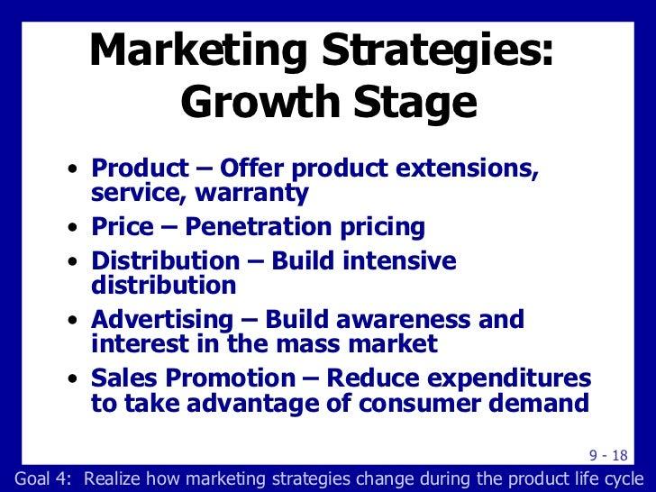 Marketing Strategies:  Growth Stage <ul><li>Product – Offer product extensions, service, warranty </li></ul><ul><li>Price ...