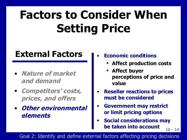 external factors affecting pricing decisions