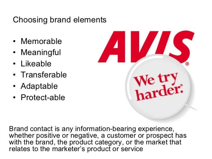 Choosing brand elements <ul><li>Memorable </li></ul><ul><li>Meaningful </li></ul><ul><li>Likeable </li></ul><ul><li>Transf...