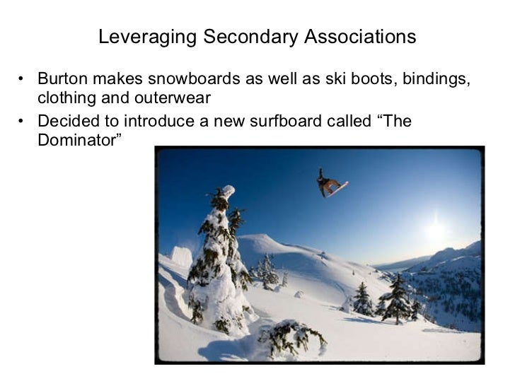 Leveraging Secondary Associations <ul><li>Burton makes snowboards as well as ski boots, bindings, clothing and outerwear <...