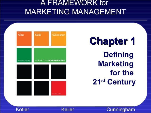 A FRAMEWORK for    MARKETING MANAGEMENT                    Chapter 1                       Defining                     Ma...