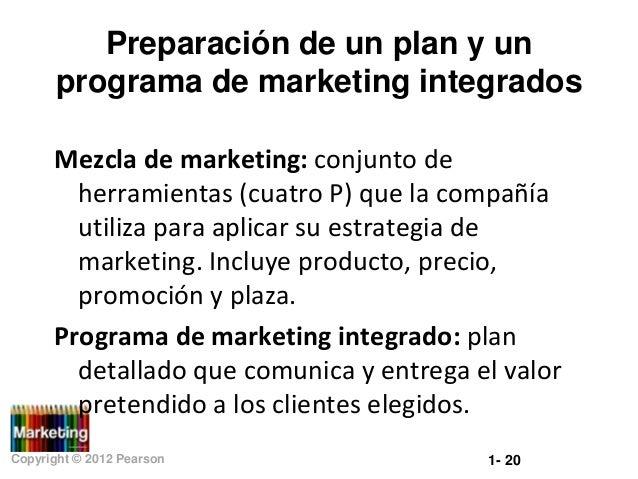 Preparación de un plan y un programa de marketing integrados Mezcla de marketing: conjunto de herramientas (cuatro P) que ...