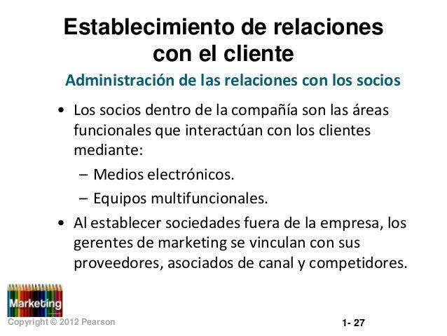 Establecimiento de relaciones con el cliente Administración de las relaciones con los socios • Los socios dentro de la com...