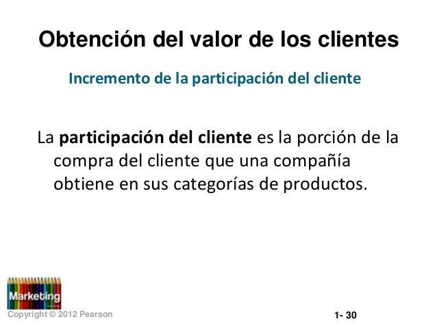 Obtención del valor de los clientes Incremento de la participación del cliente  La participación del cliente es la porción...