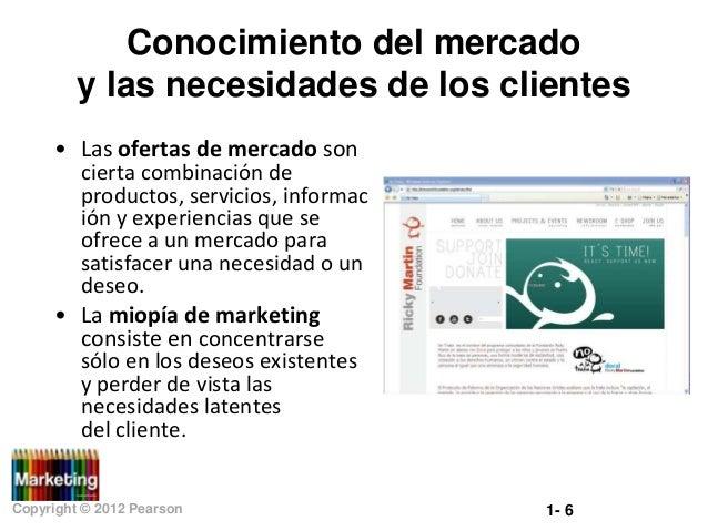 Conocimiento del mercado y las necesidades de los clientes • Las ofertas de mercado son cierta combinación de productos, s...