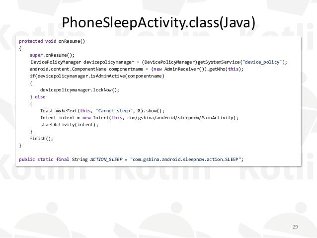 PhoneSleepActivity.class(Java) protected void onResume() { super.onResume(); DevicePolicyManager devicepolicymanager = (De...