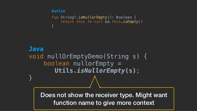 Does not show the receiver type. Might want function name to give more context fun String?.isNullorEmpty(): Boolean { retu...