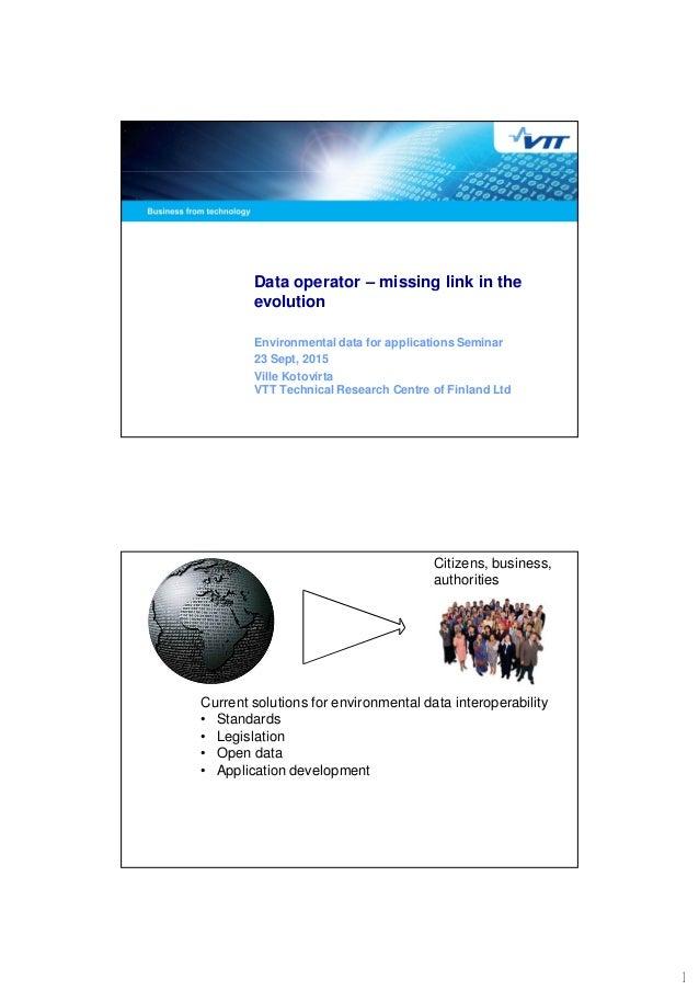 1 Data operator – missing link in the evolution Environmental data for applications Seminar 23 Sept, 2015 Ville Kotovirta ...