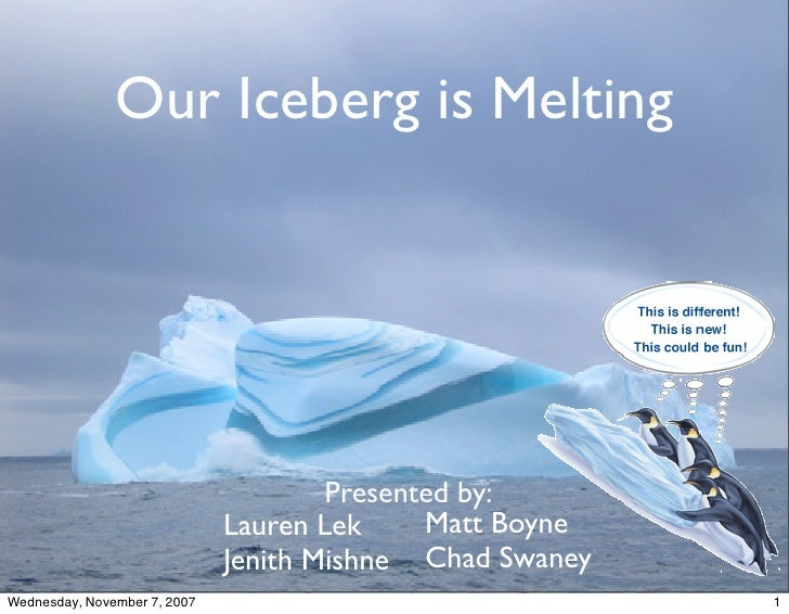 essay on our iceberg is melting This article offers two contrasting readings of the business novel our iceberg is melting: metaphor and the management of organisational change an essay about.