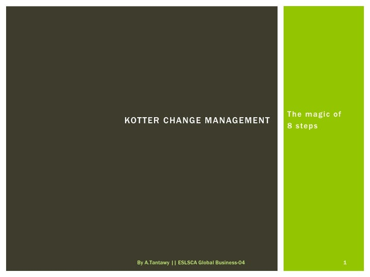 The magic ofKOTTER CHANGE MANAGEMENT                                              8 steps  By A.Tantawy || ESLSCA Global B...