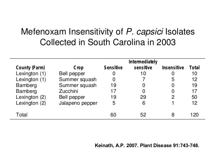 Mefenoxam Insensitivity of P. capsici Isolates       Collected in South Carolina in 2003                                  ...
