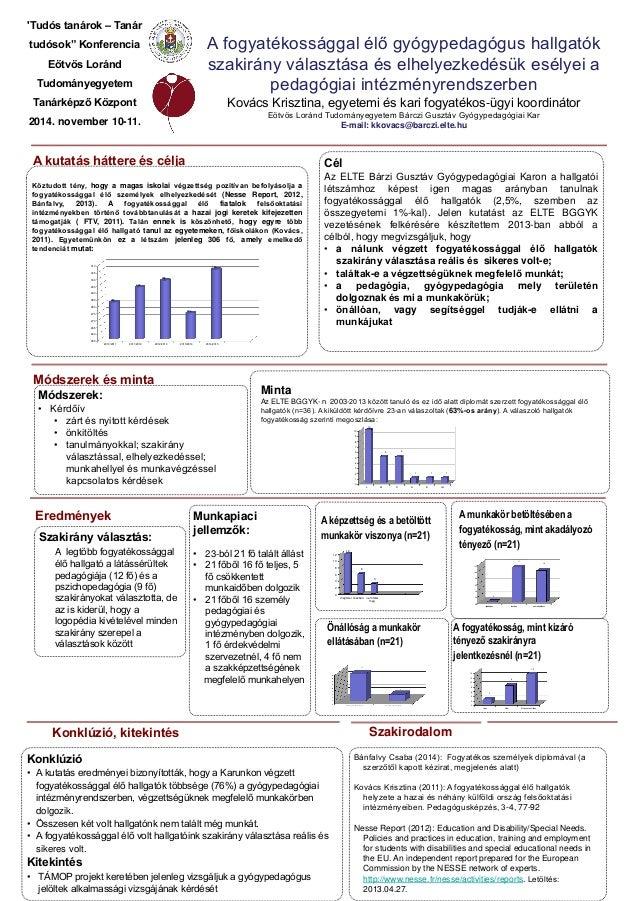 Konklúzió • A kutatás eredményei bizonyították, hogy a Karunkon végzett fogyatékossággal élő hallgatók többsége (76%) a gy...
