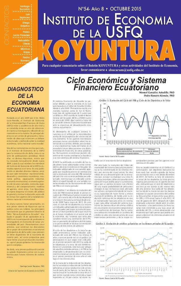 Nº54- Año 8 • OCTUBRE 2015 Instituto de Economia de la USFQ Instituto de Economia de la USFQ El sistema financiero de Ecua...