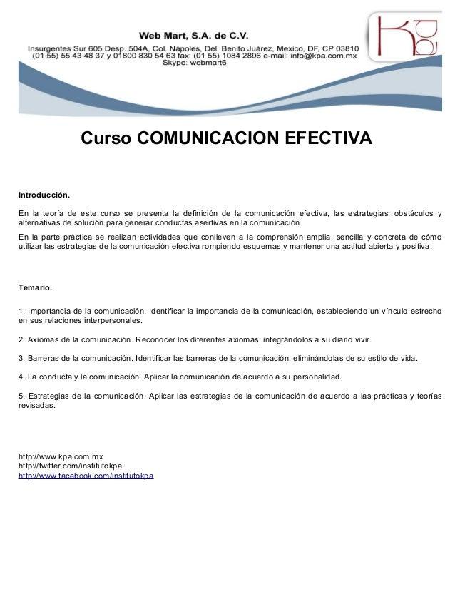 Curso COMUNICACION EFECTIVA Introducción. En la teoría de este curso se presenta la definición de la comunicación efectiva...
