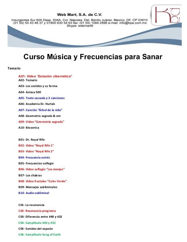 """Curso Música y Frecuencias para Sanar Temario A01- Video """"Estación cibernética"""" A02- Temario A03- Los sonidos y su forma A..."""
