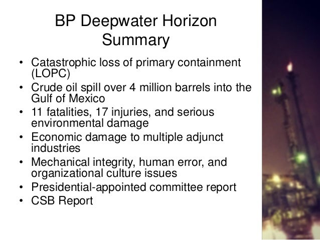 the major role of human error in the deepwater horizon oil spill in the gulf of mexico Bp at fault for 21 of 35 factors in for their roles in causing the gulf oil spill, said site of the deepwater horizon oil spill in the gulf of.