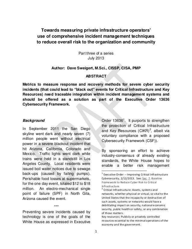 1 Towards measuring private infrastructure operators' use of comprehensive incident management techniques to reduce overal...