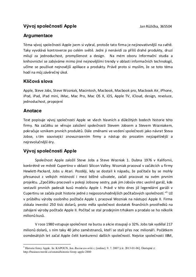 Vývoj společnosti Apple                                                                        Jan Růžička, 365504Argument...