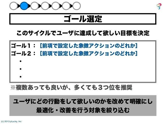 ゴール選定              このサイクルでユーザに達成して欲しい目標を決定         ゴール1:[前項で設定した象徴アクションのどれか]         ゴール2:[前項で設定した象徴アクションのどれか]         ・ ...