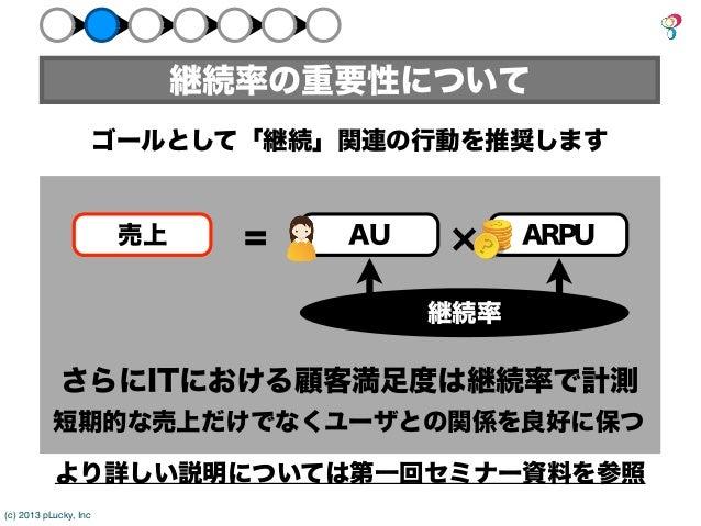 継続率の重要性について                       ゴールとして「継続」関連の行動を推奨します                        売上     =   AU         ARPU                 ...