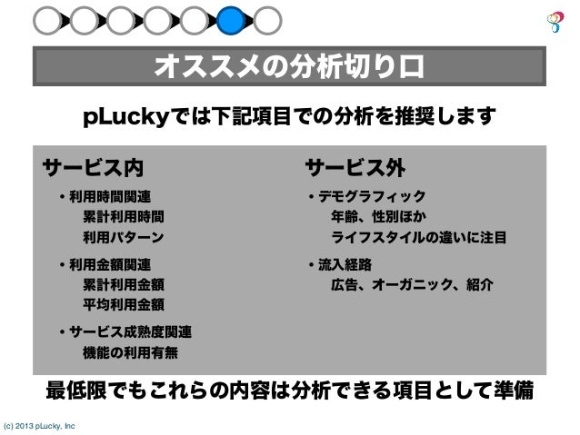 オススメの分析切り口                       pLuckyでは下記項目での分析を推奨します          サービス内                   サービス外              ・利用時間関連       ...