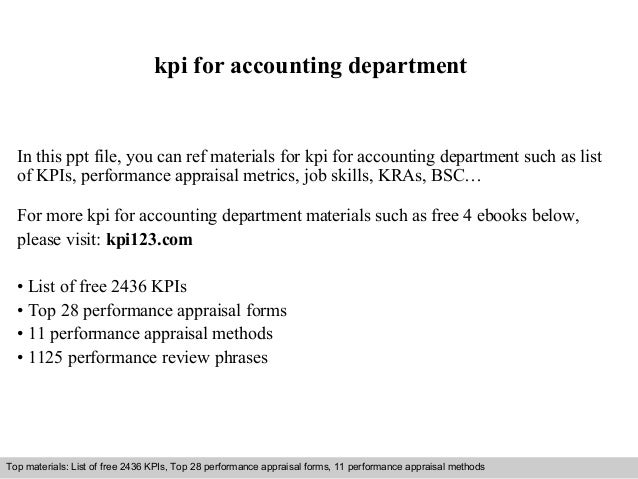 kpi for accounting department  In this ppt file, you can ref materials for kpi for accounting department such as list  of ...