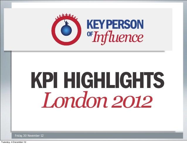 KPI HIGHLIGHTS                          LONDON 2012                         KPI HIGHLIGHTS            Friday, 30 November ...