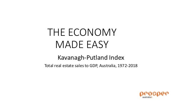 THE ECONOMY MADE EASY Kavanagh-Putland Index Total real estate sales to GDP, Australia, 1972-2018