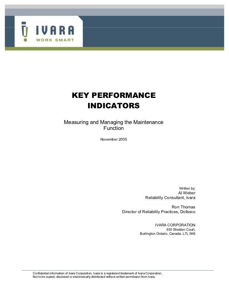 KEY PERFORMANCE                                 INDICATORS                        Measuring and Managing the Maintenance  ...
