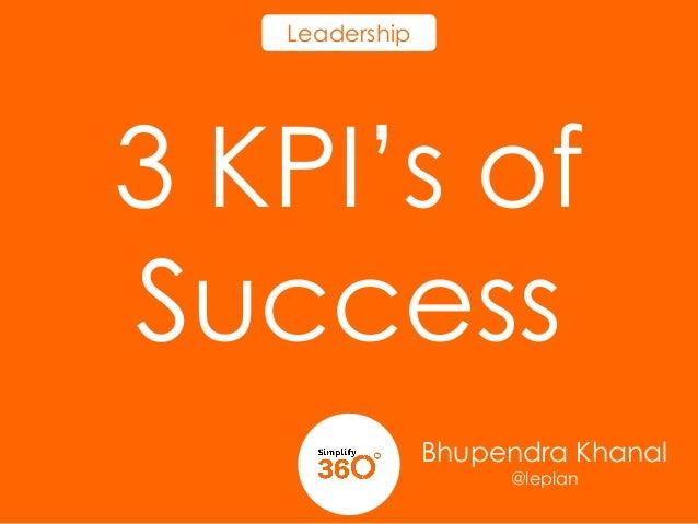 Leadership  3 KPI's of Success Bhupendra Khanal @leplan