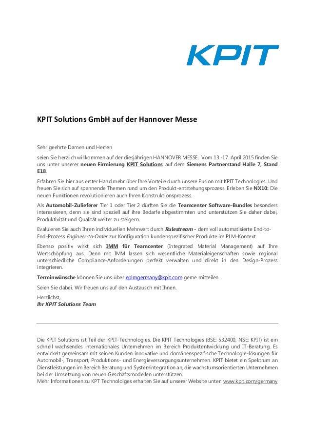 KPIT Solutions GmbH auf der Hannover Messe Sehr geehrte Damen und Herren seien Sie herzlich willkommen auf der diesjährige...