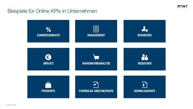 Beispiele für Online KPIs in Unternehmen  © www.twt.de  %  CONVERSIONRATE  !  ENGAGEMENT  #  BOUNCERS  $  UMSATZ  %  WAREN...