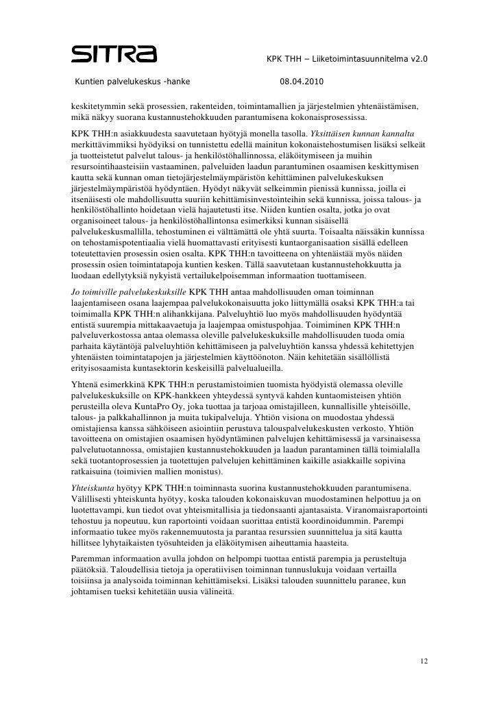 KPK THH Oy  Liiketoimintasuunnitelma