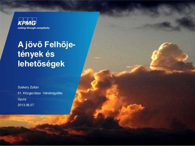 A jövő Felhője- tények és lehetőségek Székely Zoltán 51. Közgazdász- Vándorgyűlés Gyula 2013.09.27.