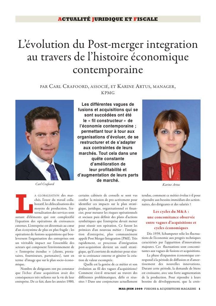 ACTUALITÉ JURIDIQUE ET FISCALE      L'évolution du Post-merger integration    au travers de l'histoire économique         ...