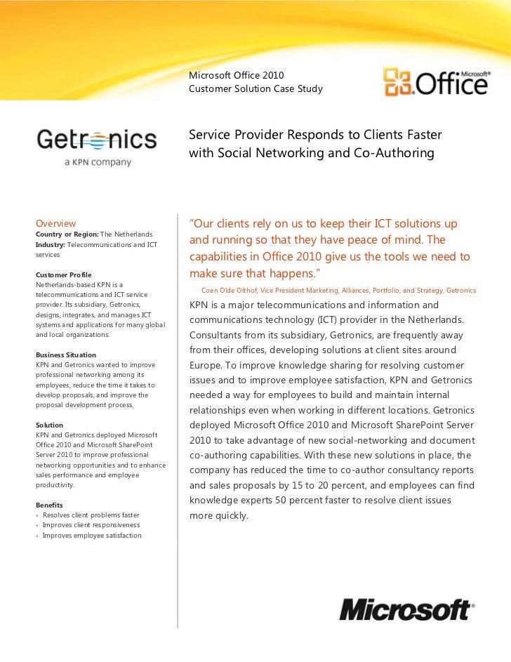 Microsoft Office 2010                                           Customer Solution Case Study                              ...