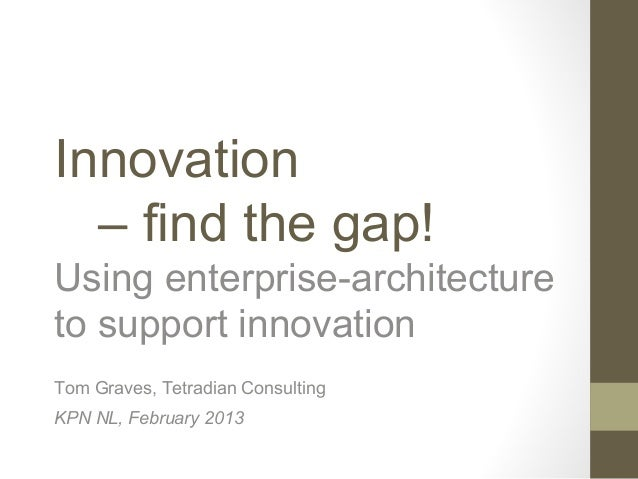 Innovation  – find the gap!Using enterprise-architectureto support innovationTom Graves, Tetradian ConsultingKPN NL, Febru...